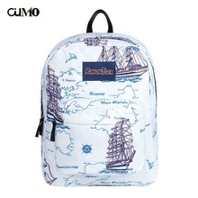 Ou Mo brand Sailing map feminina Boys/Girls backpack Women school Bag waterproof teenagers man computer Backpack laptop