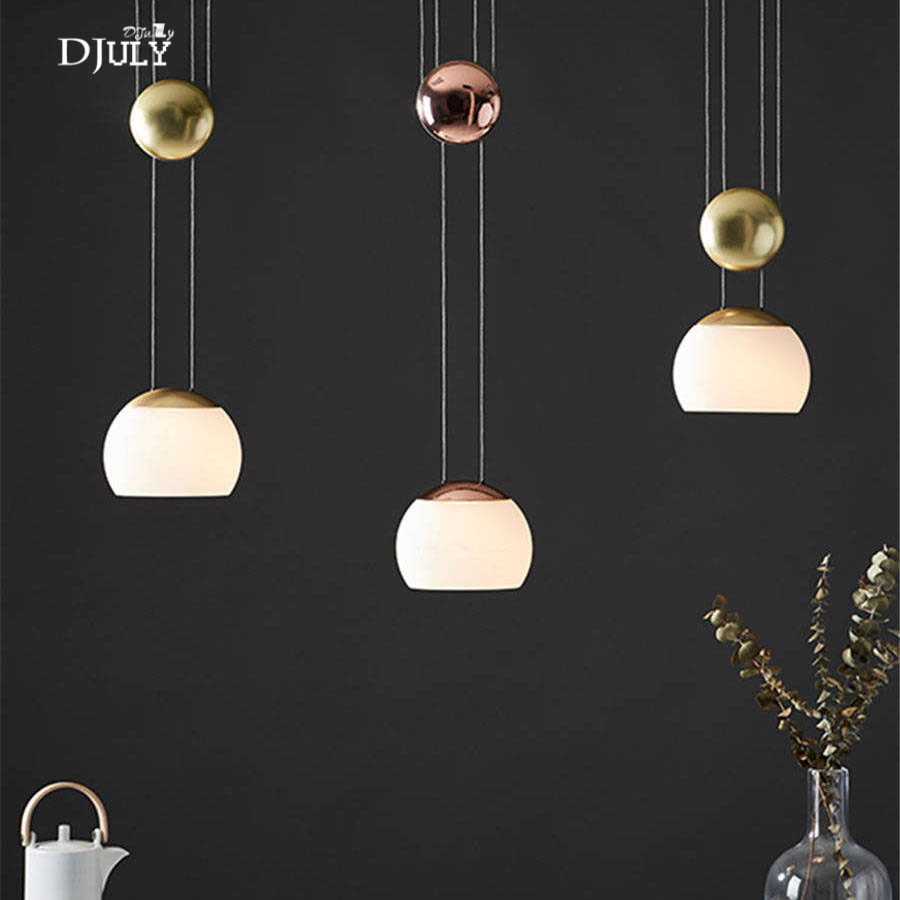nordic design Beating Glass Ball pendant lights luxury living room decoration creative dining room led hanging light fixtures