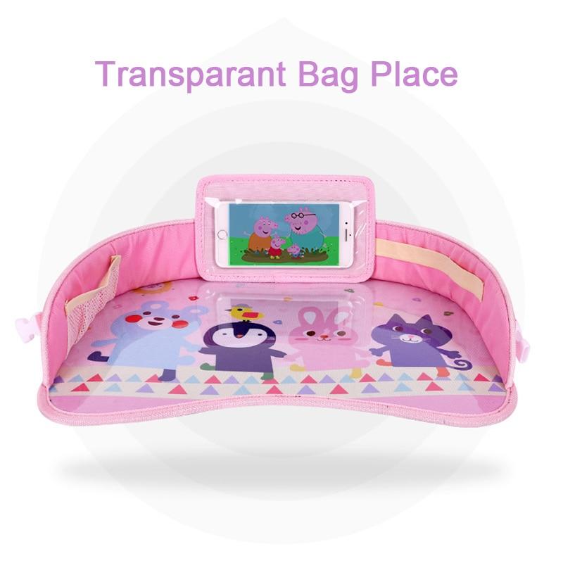 Mutifunctional Baby Cartoon Car Seat Tray Waterproof Stroller Holder Kids Toy Food Water Holder Portable Car Seat Table Desk