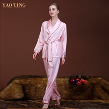 5 Colors Women Silk Satin Pajamas Pyjama Sets Pijamas Nightgown Sleepwear Sexy Robes Bathrobe Longue Femme Night Gown  WP001