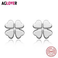925 Sterling Silver Heart Cut Clover Stud Earrings For Women Girls Boys Children Jewelry