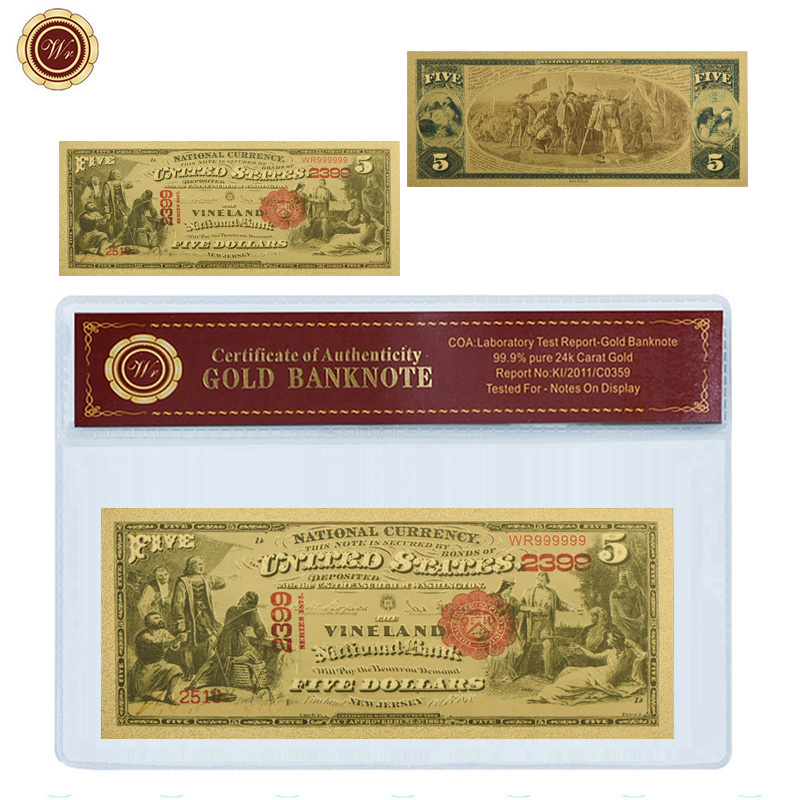 WR <font><b>5</b></font> <font><b>Dollar</b></font> 24k Gold Banknote Unique Souvenir Gifts 24k Gold Foil World Paper Money American <font><b>Bill</b></font> Note with PVC Frame image