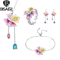 BISAER Spring Flower Jewelry Sets Silver Color Blooming Orchid Flower Women Jewelry Set Wedding Bridal Jewelry WE173