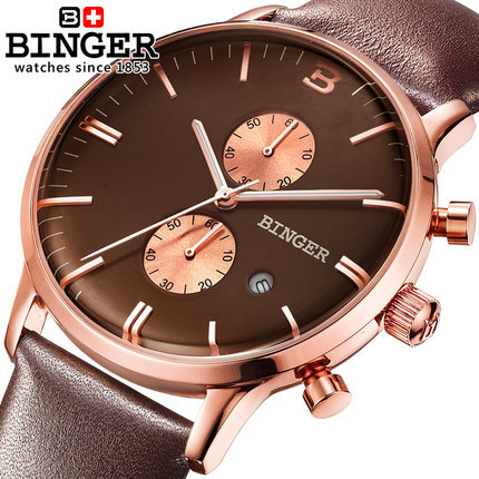 2016 new fashion Business Quartz watch Men sport Brand Binger Military Watches Men Rose Gold Leather
