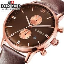 2017 new fashion Business Quartz watch Men sport Brand Binger Military Watches Men Rose Gold Leather Strap army wristwatch