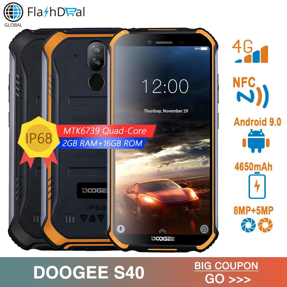 Купить IP68/IP69K DOOGEE S40 5,5 дюйма Дисплей 4650 mAh мобильный телефон MTK6739 4 ядра 2 Гб Оперативная память 16 Гб Встроенная память Android 9,0 сети 4G смартфон на Алиэкспресс