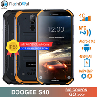 IP68/IP69K DOOGEE S40 5.5inch Display 4650mAh Mobile Phone MTK6739 Quad Core 2GB RAM 16GB ROM Android 9.0 4G Network Smartphone