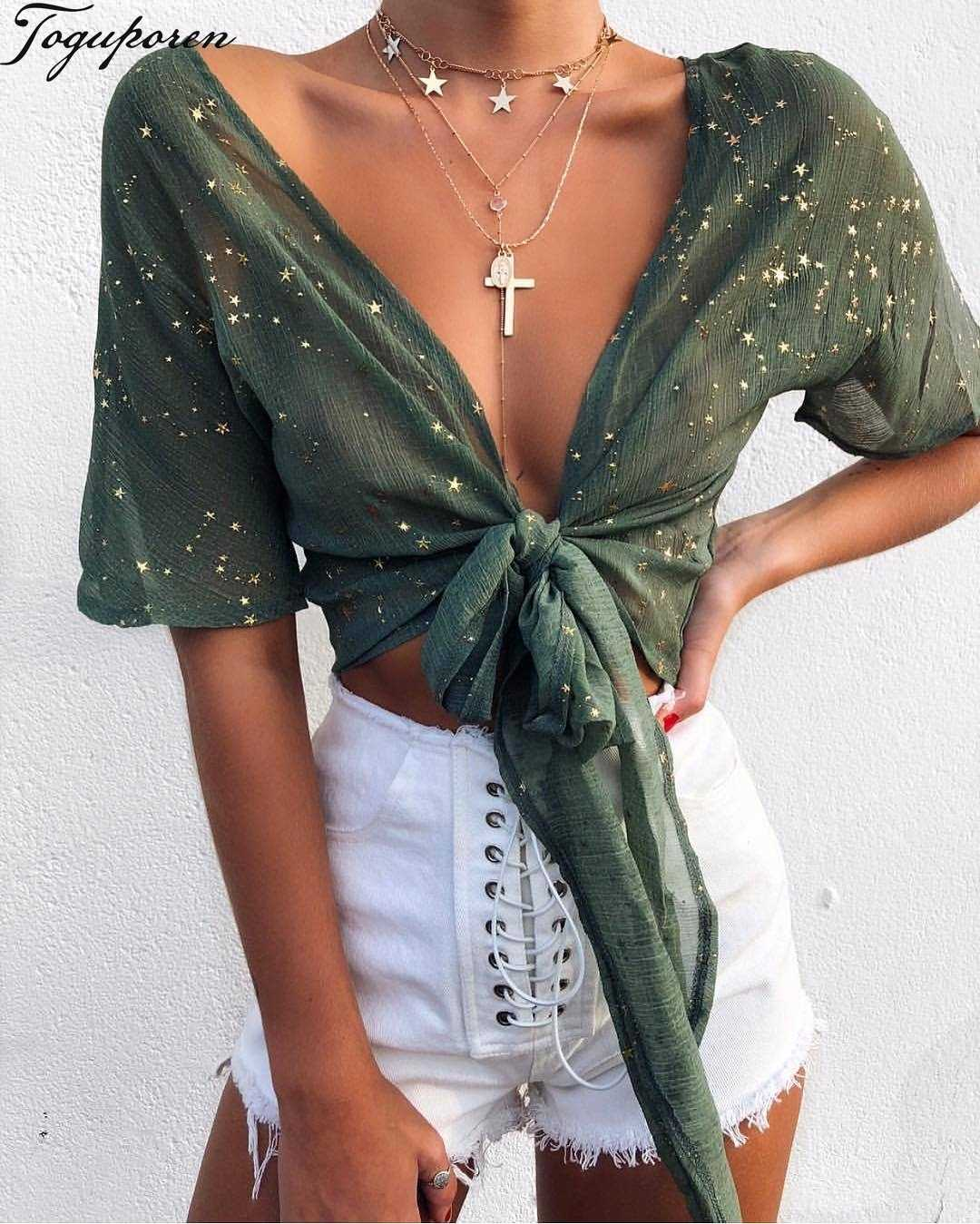Women Summer Shiny Star Gold Print Blouse Shirt Sexy V Neck Long Sleeve  Summer Crop Tops 99244121590