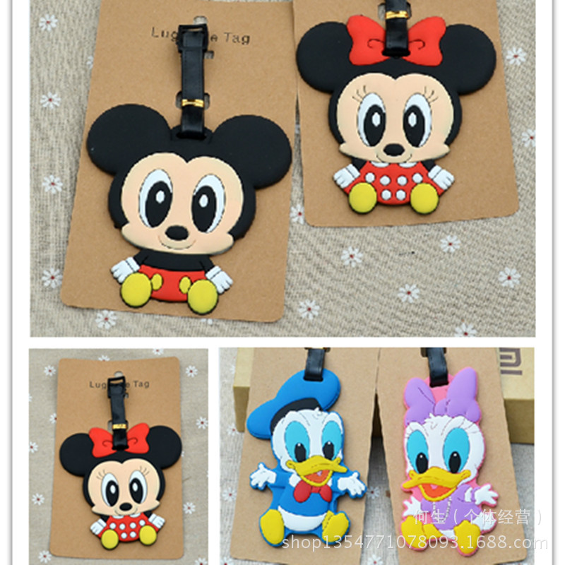 2018 New Valiz Suitcase Travel Accessories Cartoon Micky Minie Mouse Donald Duck Silica Gel Baggage Boarding Portable Label