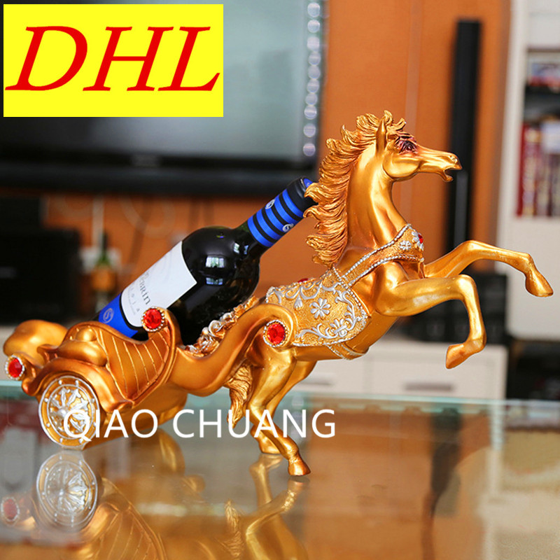 50CM Euclidean Horse Drawn Cart Sum Elephant Pull Cart Wine Rack Home Decorations Creative Business Gift Resin Art Craft S386 hot sale european style resin phoenix wine rack high end home accessories bar wine rack wholesale