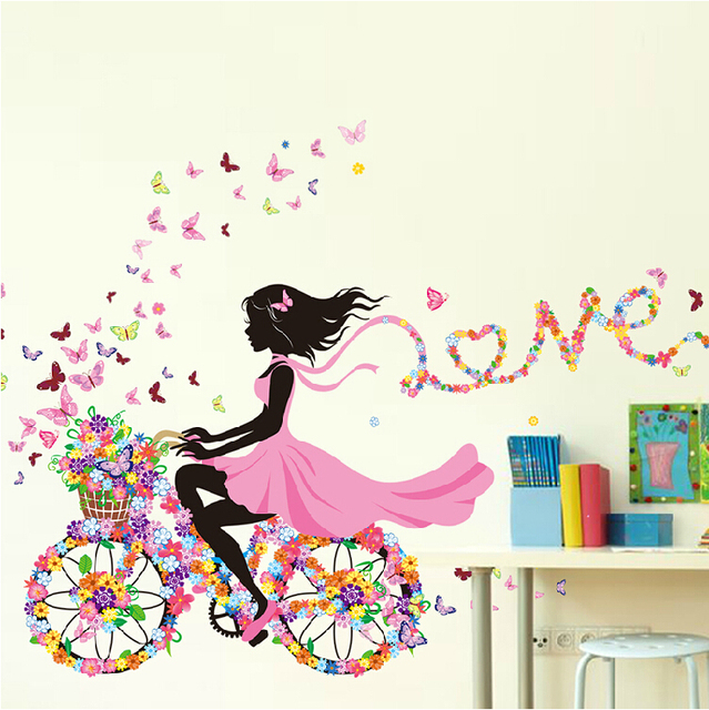 Diy Wall Stickers Home Decor Pink Princess Cycling Sticker Bedroom Living Room