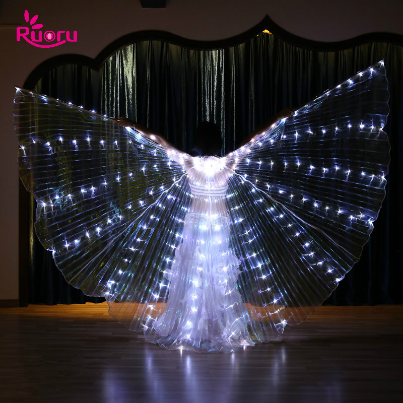 Ruoru Belly-Dance-Props Wings Yellow LED Women with Adjustable-Stick Girls White Green