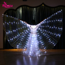 Ruoru Women Belly Dance Props LED Isis Wings with Adjustable Stick Girls White Green Yellow Red Color