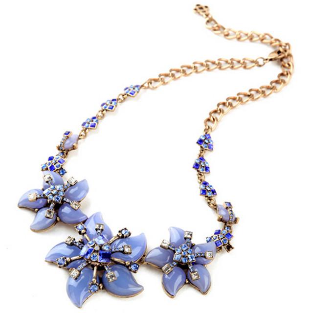 2017 la moda de nueva azul flores lucite collar choker collares y colgantes de la joyería de lujo para las mujeres