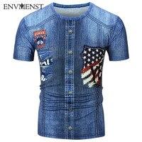 Envmenst 2017 New Fashion Brand Clothing 3D Denim Printed T shirts O neck Short Sleeves Cotton Men T-Shirt Casual Man Top Tees