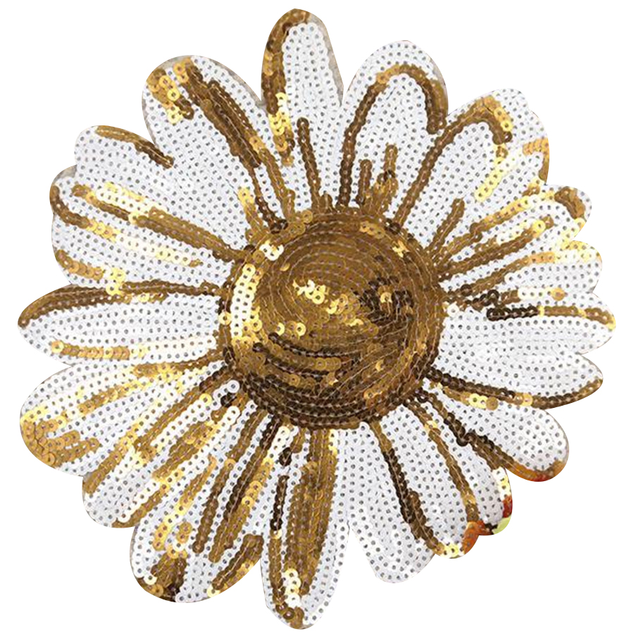 Fashion sequins Icon 23cm sunflower iron on patches for clothing embroidery biker patch applique clothes t shirt women stickers