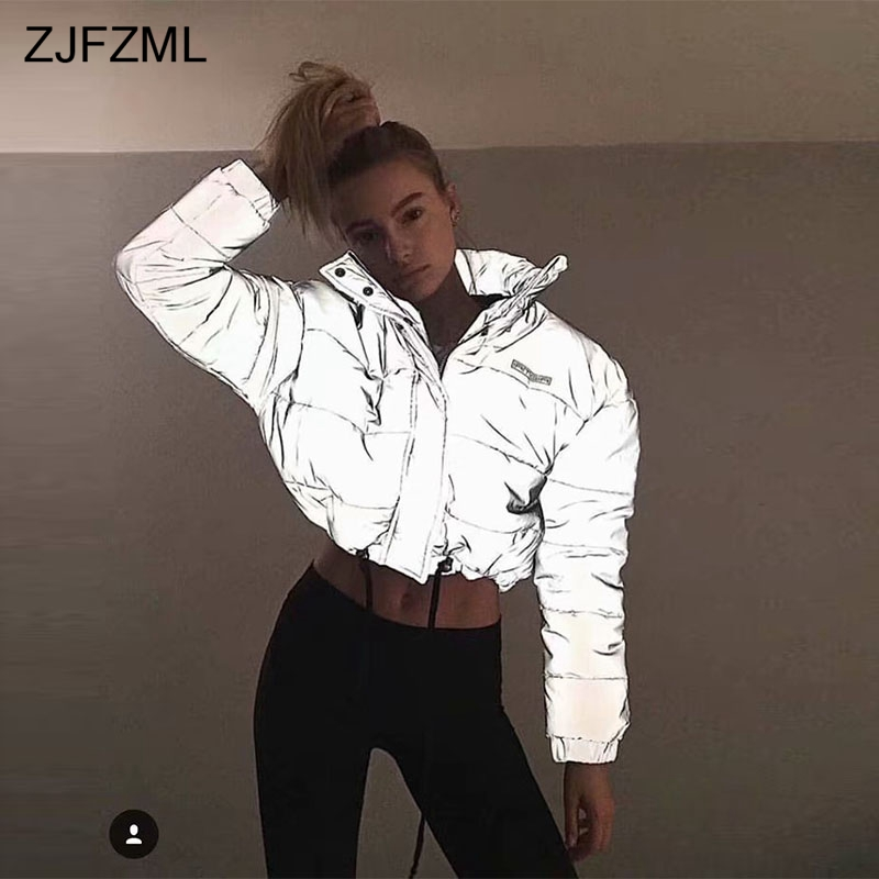 ZJFZML Women Cropped Puffer Padded Jacket Fashion Plus Size Winter Thick Reflection Bubble Coat Female Warm Loose Zipper   Parkas