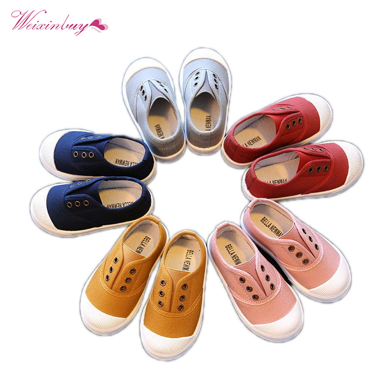 2018Fashion Baby Boy Girls Soft Shoes Baby\'s Canvas Casual Shoes Kids Comfortable First Walk ShoesA