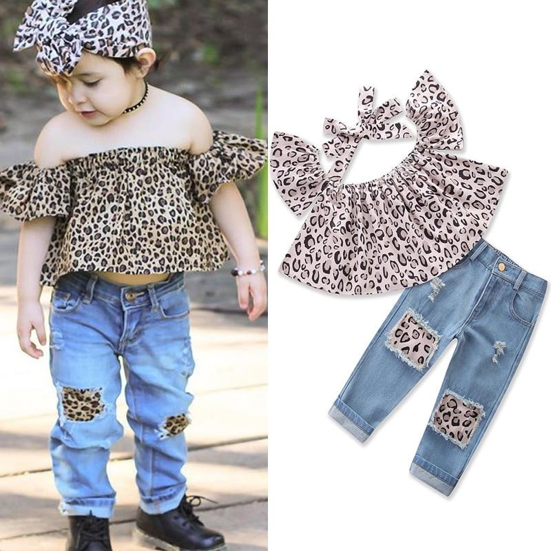 2018 ins hot sale meisjesmode kleding sets Leopard raglan mouw tops + - Kinderkleding - Foto 2
