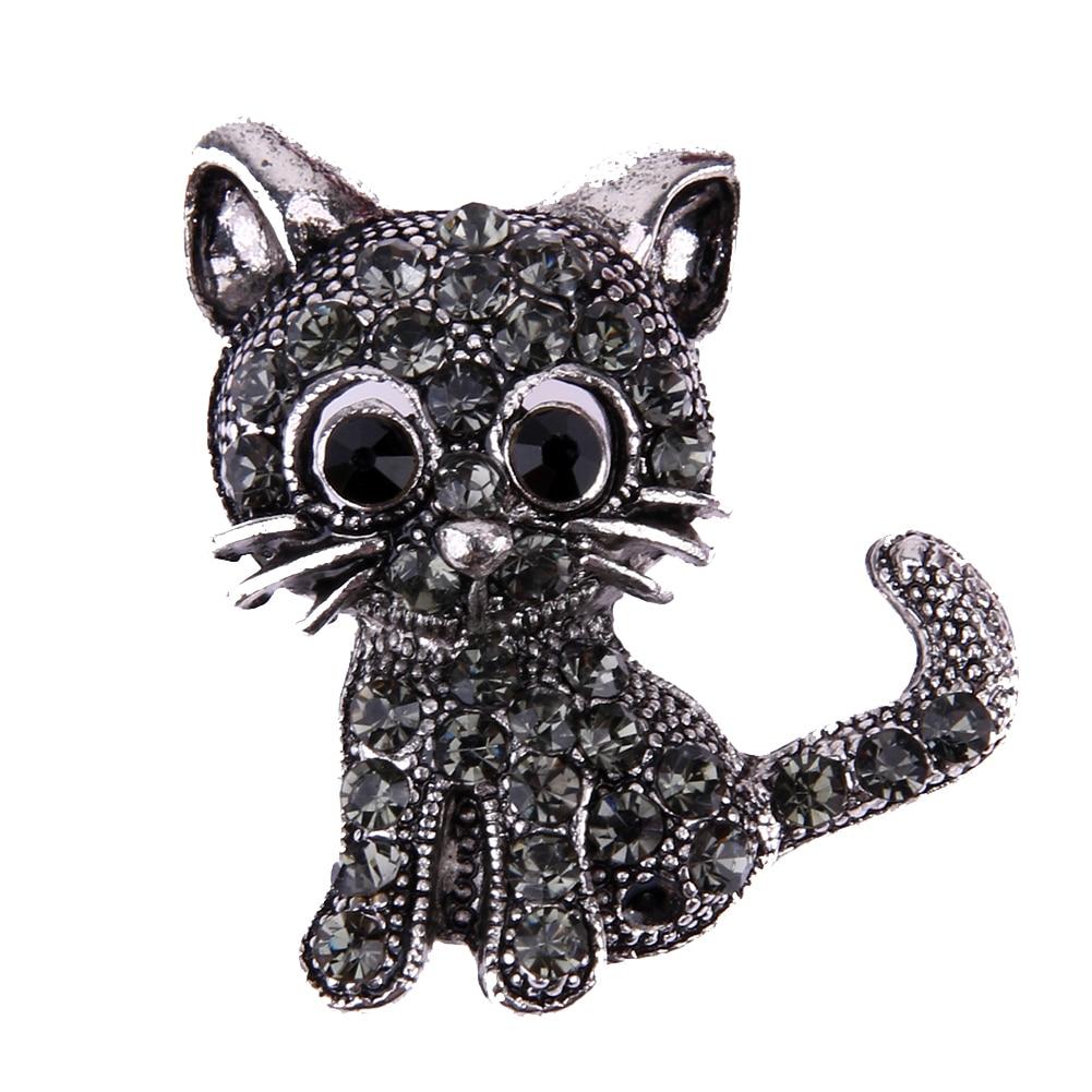 Vintage Black Crystal Cute Cat Brooch Pins 28*31*3mm Women Brooch 2017 Fashion pin up Brooch Accessories