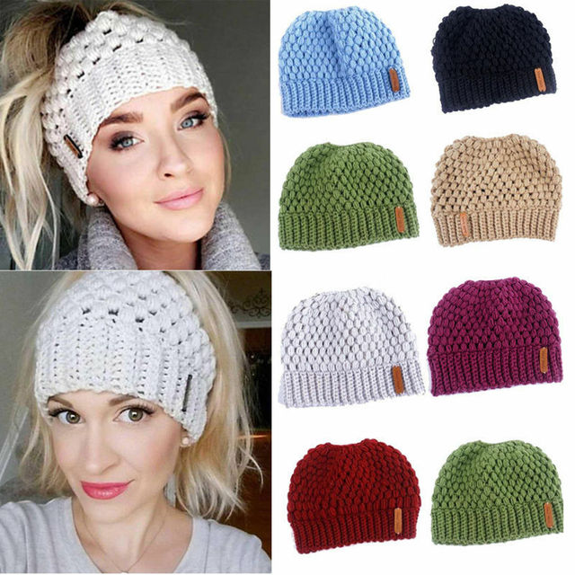 Winter Knitting Hats Winter Women Hat Ladies Girl Stretch Knit Hat With Tag Messy Bun Ponytail Beanie Holey Warm Hats Caps 1