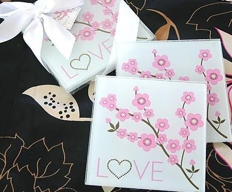 glass coasters beautiful plum blossom patterns design wedding gifts glass cup mat 2pcs1set wedding