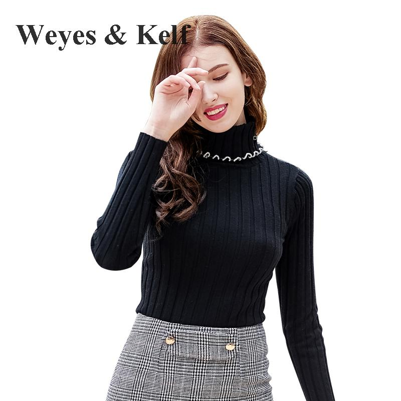 Weyes & Kelf Slim Black Warm Ruched Turtlenech Sweater Womens Winter Jumpers Long Sleeve ...