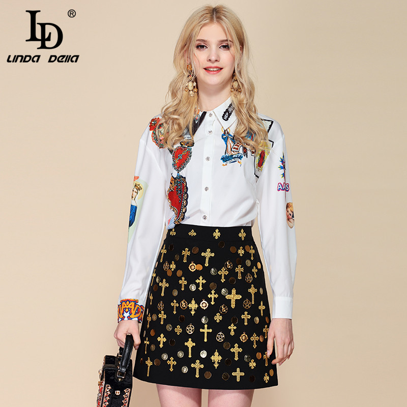 LD LINDA DELLA Fashion Two Pieces Set Women's Long Sleeve Printed Blouses + Vintage Sequined Beading Mini Short Skirts Sets Suit