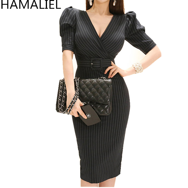 HAMALIEL Summer Black Striped Short Sleeve Bodycon Office <font><b>Dress</b></font> <font><b>2018</b></font> Women Formal <font><b>Sexy</b></font> V Neck Sheath Pencil Sashes <font><b>Work</b></font> <font><b>Dress</b></font> image