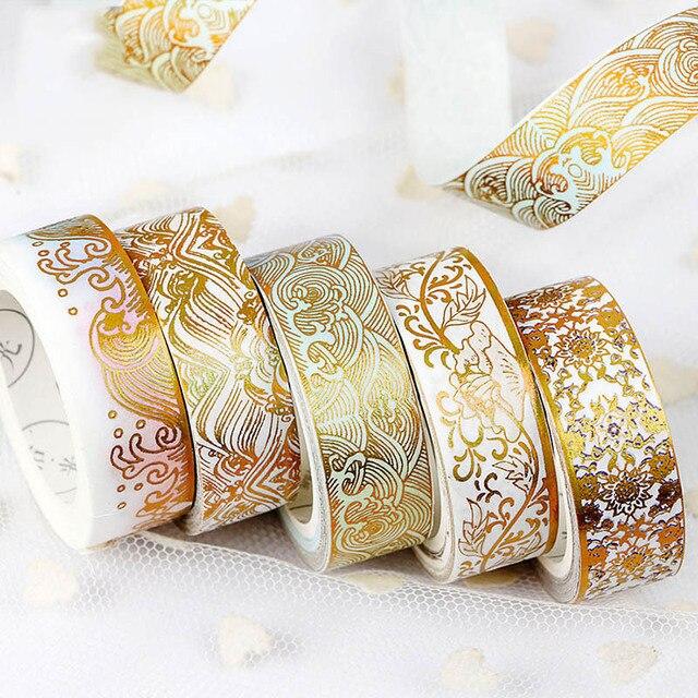 Cinta Washi Scrapbooking diario grúa lámina de oro cinta adhesiva decorativa para decoración de álbum de fotos papelería 5 m * 15mm