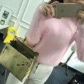2016 зима мохер свитер женщин хеджирования короткий параграф женский Корейский свитер пальто толстые свободные одежды Колледж ветер