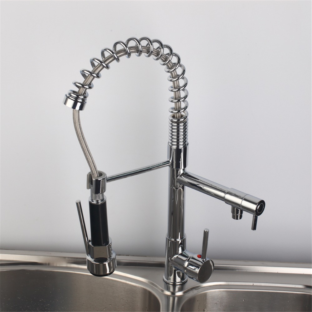 Pull Down Chrome Finish Solid Brass Swivel Kitchen Faucet Two Spouts Deck Mount Mixer Kitchen Faucet