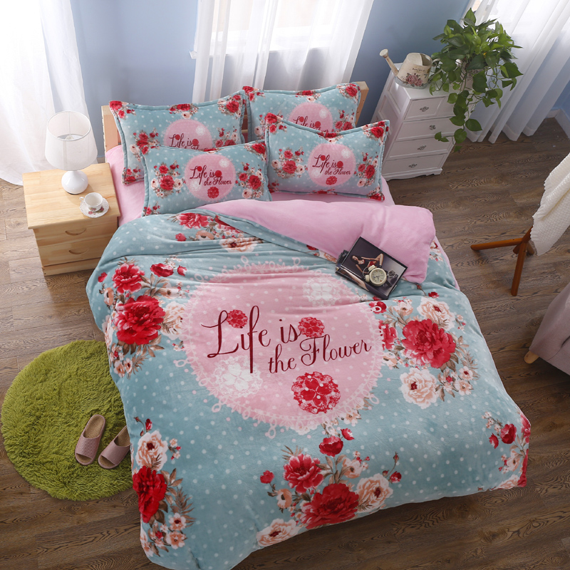 Red rose flowers duvet cover blue comforter sets white for Housse de duvet