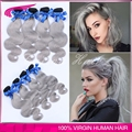 Color Two Tone 1b Gray hair extensions Peruvian virgin human hair bundles 4 Pcs Ombre Grey Peruvian Body Wave free shipping