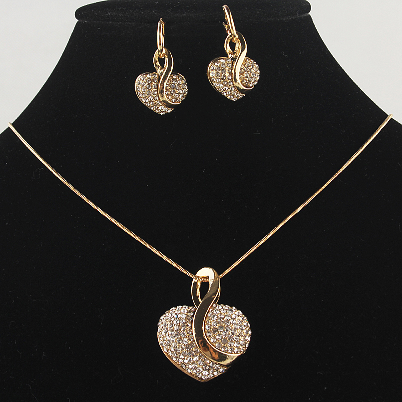 Big Promotion New Gold-color Heart Clear Austrian Crystal Pendant Chain Necklace Earrings For Women Jewelry Set Free Shipping
