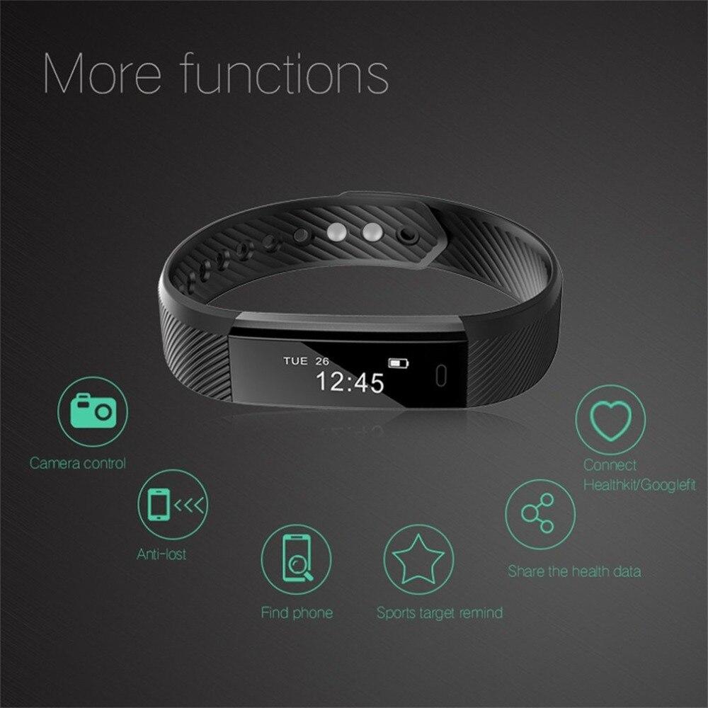 ID115 Smart Bracelet Fitness Tracker Passometer Sleep Monitor Track Smart Band Watch Alarm Clock Step Counter Fitness Hot