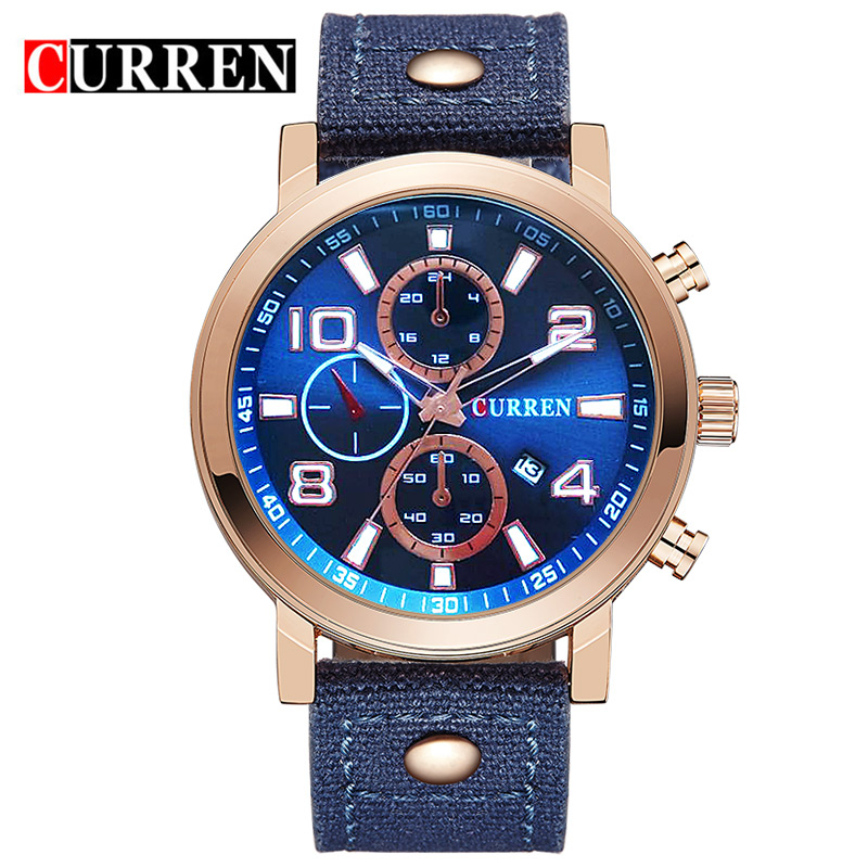 CURREN Luxury Brand Army Military Watches Men's Dress Quartz Hour Clock Watch  Men Leather Sports Wrist Watch relogio masculino weide new men quartz casual watch army military sports watch waterproof back light men watches alarm clock multiple time zone