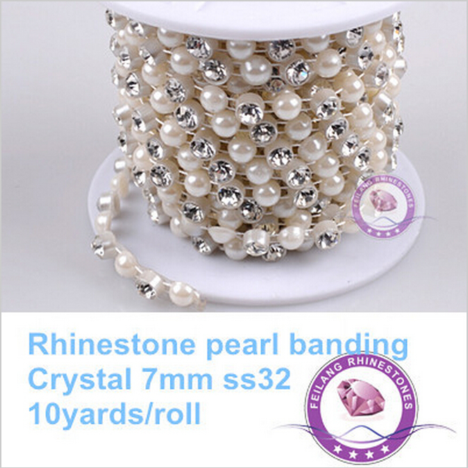 10yard 7mm Crystal Rhinestone Pearl Chain Sewing Banding For Weeding Decoration Garment Accesorry