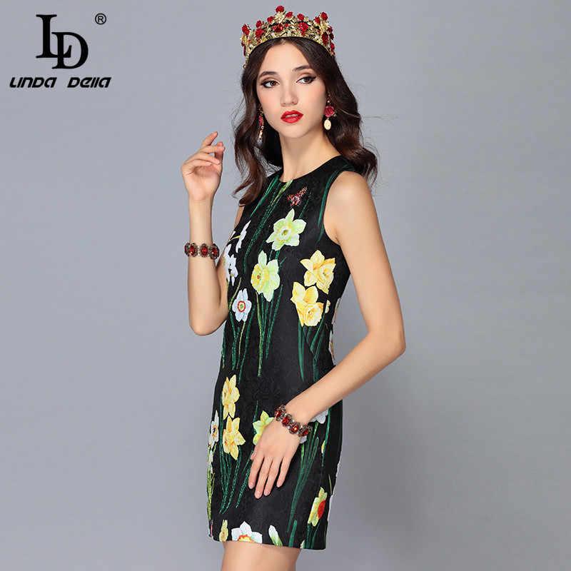 cdbc889a7e9 ... LD LINDA DELLA Новая мода взлетно-посадочной полосы летнее платье Для  женщин без рукавов Бисер ...