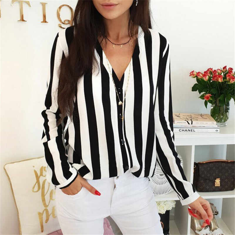 47f897adef421 Detail Feedback Questions about Fashion Lady Casual Button Down Tops Shirt  Women Summer Autumn Red Black Striped Loose Top Shirt Baggy V Neck Long  Sleeve ...