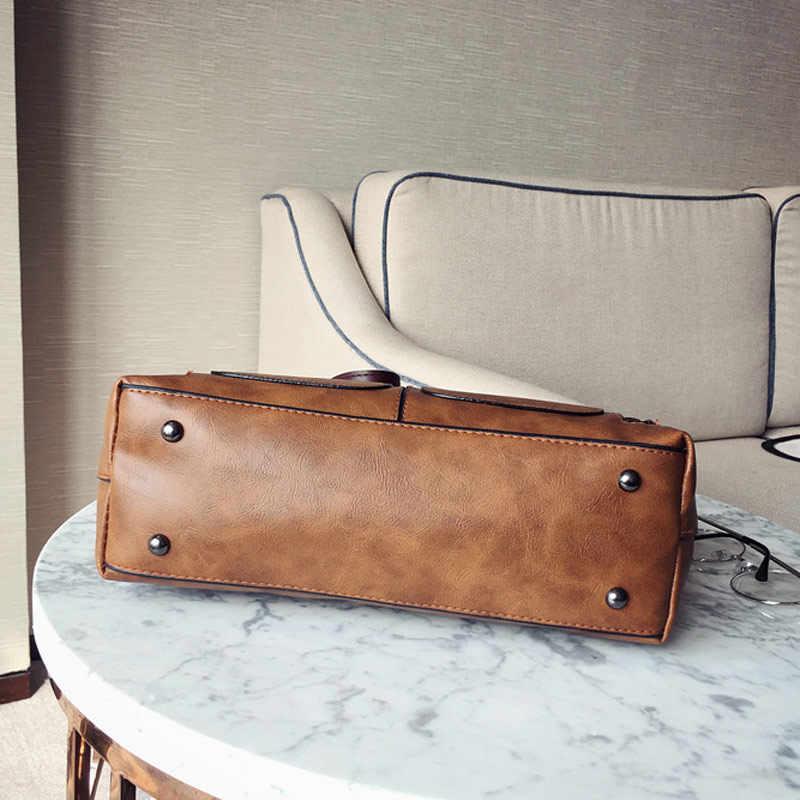 Mode Messenger Bags Voor Vrouwen 2020 Vintage Stijl Pu Lederen Handtas Dames Grote Capaciteit Casual Tote Schoudertas Vrouwen