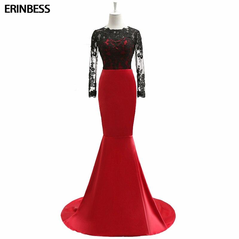 Africano Della Sirena Prom Dresses Nero E Rosso Vedere Attraverso Pizzo Abiti Da Sera Abiti De Baile Aperto Indietro Abito Del Partito