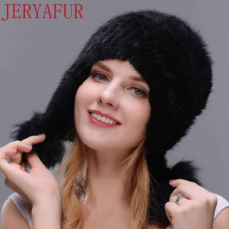 JERYAFUR Black Natural mink winter fur hat fox fur ball ladies fashion knit brand casual warm hat woman   Skullies     Beanies