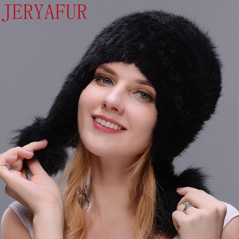 JERYAFUR Black Natural Mink Winter Fur Hat Fox Fur Ball Ladies Fashion Knit Brand Casual Warm Hat Woman Skullies Beanies