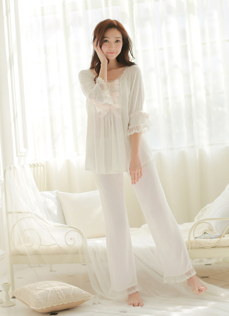 d751941db Women Cotton Sleepwear Set Pure white pajamas suits Sweet princess style  tracksuit