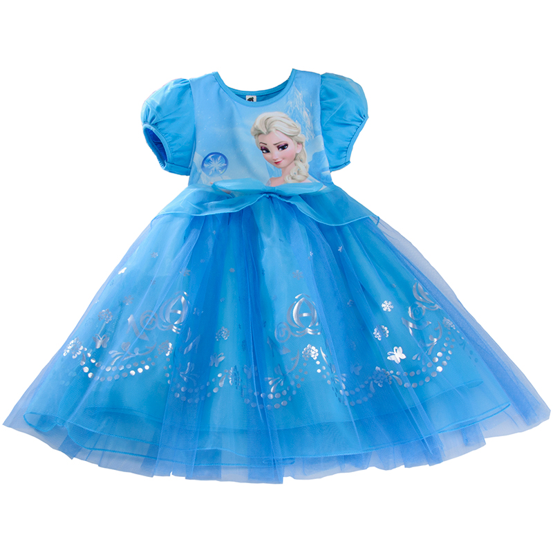 Disney Frozen Girl Dress Summer Super Western Air Love Queen Princess Dress Summer Child Aisha Dress retail new girl flower dress child princess gauze dress summer summer costume 7 colors free shipping 5031