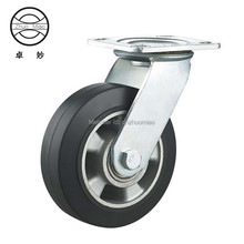 New style 6 inch Top Plate Swivel Aluminum Core Rubber Heavy Duty Caster With Double Ball Bearing. цены
