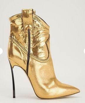 hot selling gold leather woman high heel boots sexy pointed toe ankle boots 2017 thin heels boots silver