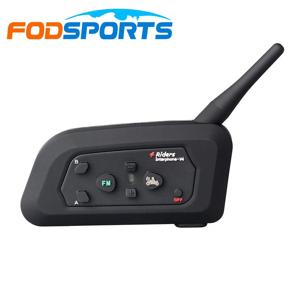 Fodsports 1 pc V4 motorcycle helmet intercom headset 4 riders 1200m moto bluetooth interphone with FM radio
