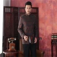 Discount Coffee Chinese Tradition Men's Kung Fu Jacket Silk Satin Coat Mandarin Collar Tang Suit S M L XL XXL XXXL